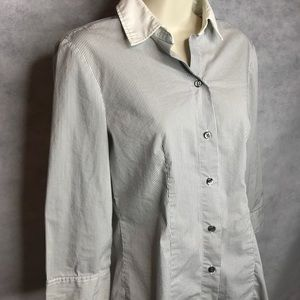 New York & Company Pinstriped Button Up Blouse